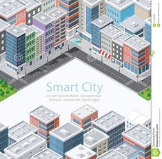 Illustration about Smart city in isometric landscape urban infrastructure of houses, streets and buildings. Illustration of house, landscape, modern - 114203386 Smart City, Vector Art, Urban, Landscape, Street, Building, Illustration, House, Design
