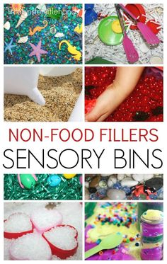 Easy non food sensory bin fillers for sensory play. Sensory bins are perfect for early childhood learning including toddler, preschool, and kindergarten age kids. Make fun sensory bins for every holiday and season too.
