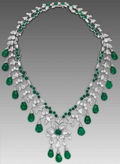 Zambian cabochon #emerald #necklace by #DavidMorris in white gold. #emeralds #africanemeralds See more at www.thejewelleryeditor.com