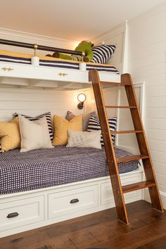 bunk beds, bunk room, nautical, summer house, navy, white, yellow design by nicki bongiorno www.spaceskennebunkport.com