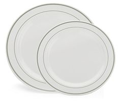 From Party City 60 Heavyweight Fancy White With Silver Rim Plastic Plates 30 Dinner And Salad