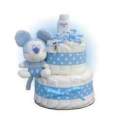 Baby Shower Gifts: Blue Mickey Mouse 2-Tier Diaper Cake