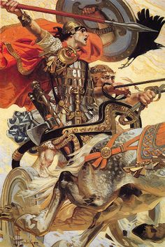 Cuchulain in Battle (1907) by J.C. Leyendecker