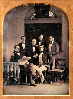 Daguerreotype portrait possibly of a group of employees of the London merchant bank of Frederick Huth and Company taken somewhere in the United States, 1848
