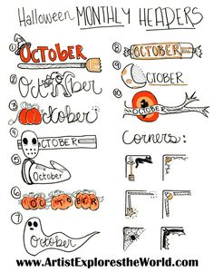 Creative Inspiration: Halloween themed headers and icons for your bullet journal! These bujo page corners are adorable! Planner header and corner art for October that will inspire you for other months as well. Planner Bullet Journal, Bullet Journal Headers, Bullet Journal Cover Page, Bullet Journal Writing, Bullet Journal Spread, Bullet Journal Layout, Bullet Journal Ideas Pages, Bullet Journal Inspiration, Bullet Journals