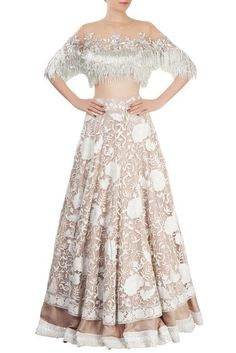 Off-white Lehenga with silver fringed blouse by Manish Malhotra Abaya Style, Saree Blouse Neck Designs, Blouse Designs, Indian Dresses, Indian Outfits, Manish Malhotra Bridal, Lehenga Crop Top, Bridal Lehenga Collection, Pakistani Bridal Wear