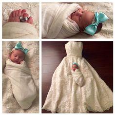 newborn with wedding dress
