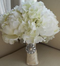 White Peony, Hydrangea and Ranunculus Bridal Bouquet with Brooch. What a Great Combo!