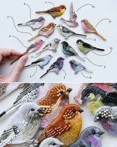 13 новых птиц! Броши, ручная вышивка хлопком, шерстью, бисером, крепления с серебрением New birds! Hand-embroidered brooches, cotton and…