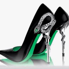 nice shoes - black and silver with green.