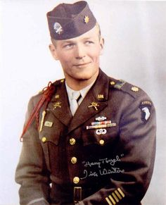 "Major Richard Winters of 101st Airborne -- He led ""The Band of Brothers."" Maj. Winters commanded Company ""E"", 2nd Battalion, 506th Parachute Infantry Regiment, 101st Airborne Division, during World War II. He parachuted into Normandy in the early hours of D-Day, and fought across France, the Netherlands, Belgium, and eventually into Germany. An American hero"