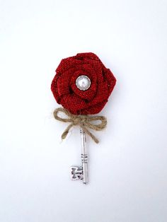 Burlap boutonniere rustic red key boutonniere by deecreated4u