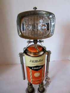 Ginger Bot - found object robot sculpture assemblage