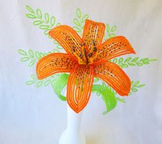 French Beaded Flowers Made to Order orange by LaurenHCreations
