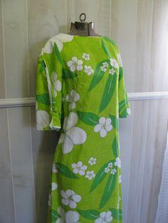 Vintage Lime Green Floral Print 60s 1960s by HaywoodCreekVintage, $42.00