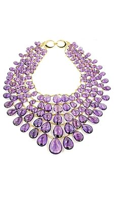 Taffin amethyst and 18K yellow-gold bead #necklace #sparkle