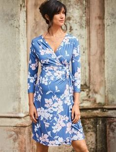 Pleated Floral Maternity Wrap Dress, Blue Floral Print