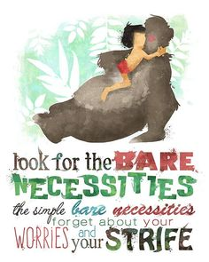 Bare Necessities Jungle Book 8x10 Poster door LittoBittoEverything