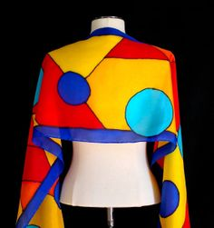 Silk scarf hand painted in a  bold geometric by FantasticPheasant, $40.00