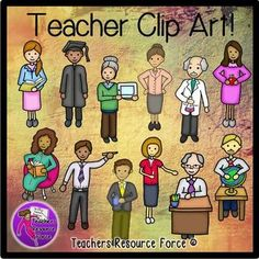 Clip art of Teachers - Color & black line. Have you been looking for a selection of clip art images of actual TEACHERS? This is an adorable set of teacher clip art and includes color images plus the black and white line drawings included!