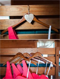 diy bridesmaid hangers, but with gold writing :)