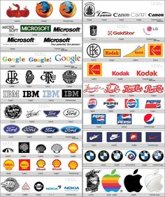 Design changes and evolution of famous logos over years: IBM, Apple, Ford, Microsoft and more.