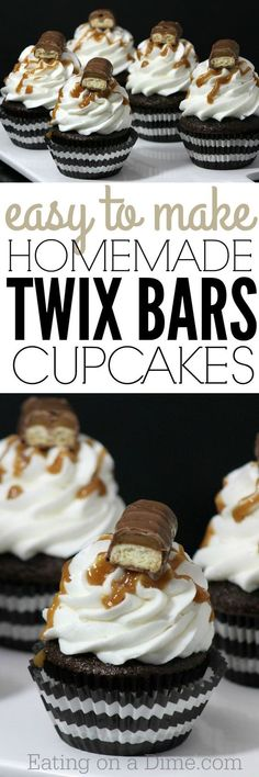 Homemade Twix Bars Cupcakes - these are so easy to make and taste amazing!