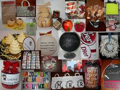 Teacher appreciation gifts:  Peanut Butter and Jelly Cupcakes,  Chalkboard Mug and Mini Cinnamon Buns on a Stick, Alphabet Crayons, Garden of Goodies, Chalkboard Globe, Post It Note Holders, Book Pages Wreath, No Sew Book Bags, Recipe for a Good Teacher:  Apron and Recipe Cards, Breakfast on the Go:  Biscuits and Jam, Personalized Germ Juice, Buzzzzy Bee Cupcakes, Hand Scrub,  Chalkboard Clipboard, Teacher Pencil Cup, Ladybug Counting Beans, 'Candy'ied Apples...