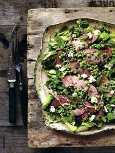 Warm lamb salad with a pea, mint & feta cheese dressing