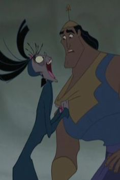 Eartha Kitt as Yzma and Patrick Warburton as Kronk in The Emperor's New Groove