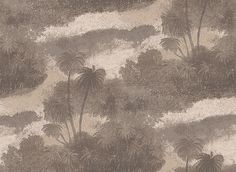 Cocos Silver/Copper (W6652-02) - Osborne & Little Wallpapers - An atmospheric design featuring the silhouettes of swaying island palms. Shown in the metallic silver and copper - a taupe effect.. Please request sample for true colour match.
