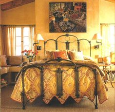 "Beautiful ""Art Panel"" bed from the mid-1800's. Converted into a queen width."
