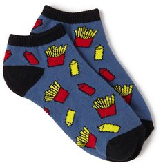 FOREVER 21 Ketchup & Fries Ankle Socks ($1.50) ❤ liked on Polyvore featuring intimates, hosiery, socks, accessories, shoes, forever 21, print socks, short socks, patterned socks and patterned ankle socks