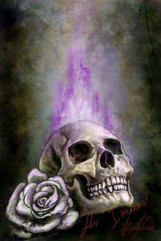 Purple flames skull by *Sarmati on deviantART