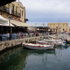 Rethymno Harbour, Crete. Excellent fish restaurants with kids' play areas inside.
