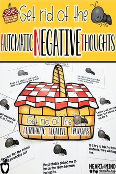 Students will learn about cognitive distortions that impact self-esteem and anxiety. They will learn about different types of automatic negative thinking and practice changing it to positive thinking. Great for small group counseling or class lessons. Elementary School Counseling, School Social Work, School Counselor, Elementary Schools, Counseling Quotes, Group Counseling, Counseling Activities, Therapy Activities, Therapy Ideas