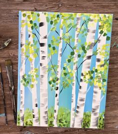 How To Paint Birch Trees - Easy Step By Step Painting Tutorial Tree Painting Easy, Birch Trees Painting, Easy Flower Painting, Birch Tree Art, Wall Painting Decor, Spring Painting, Spring Art, Diy Painting, Painting Canvas