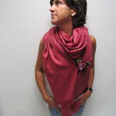 Pañuelo XL de lana color marsala pañuelo manta por katakdesign