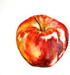 Apple Painting, Original watercolor painting, small still life. $25.00, via Etsy.