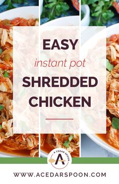 Easy Instant Pot Shredded Chicken is a quick way to make pulled chicken that you can use in a variety of meals from tacos, to enchiladas, to salads. Slow Cooker Mexican Chicken, Slow Cooker Shredded Chicken, Shredded Chicken Tacos, Shredded Chicken Recipes, Pulled Chicken, Chicken Salad Recipes, Chicken Lime Soup, Chicken Rice Bowls, Chicken Curry Salad