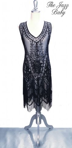 Black Jet 1920's JAZZ BABY Beaded Flapper Gatsby by TheDecoHaus, $399.95