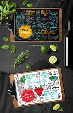 Creative drink menu template for your res… Cocktail Bar Menu Restaurant Template. Creative drink menu template for your restaurant business with graphic illustrations – mojito, margarita, gin&tonic. Mojito, Margarita Cocktail, Cocktail Menu, Cocktail Sauce, Cocktail Movie, Cocktail Attire, Cocktail Shaker, Cocktail Dresses, Cocktail Recipes