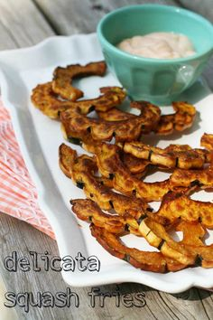 Delicata squash fries recipe. Crispy from oven roasting. Healthy and delicious! Repin to save.