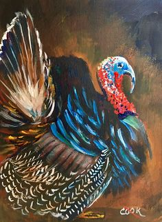Tom Turkey is a 1 cookie lesson also available on on You Tube. Let's talk Turkey. Turkey Painting, Turkey Art, Autumn Painting, Autumn Art, Diy Painting, Watercolor Paintings, Fall Paintings, Tom Turkey, Painting Pumpkins