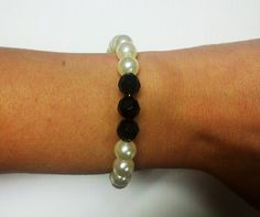 Ivory Pearl & Black Beaded Bracelet by OneSEC on Etsy, $9.95