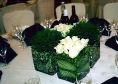 White rose & kitty grass table centre
