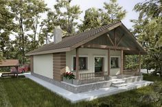 case pana in 100 mp cu 2 dormitoare Architect House, Architect Design, Indian Home Design, Simple House Design, Village Houses, Sims House, Dream House Plans, Cottage Living, Facade House