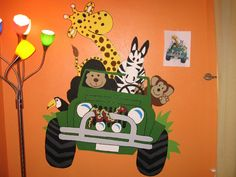 jungle door and room decorations   The completed safari jeep mural