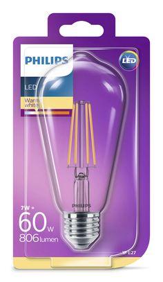 Philips LED /светодиодна/ лампа Едисон 60W ST64 E27 WW CL NDRF1BC/6 871869674243301