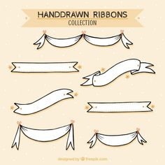 Sketches ribbons collection Free Vector